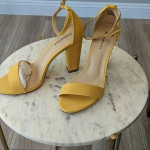 Yellow Heeled Sandals size 10